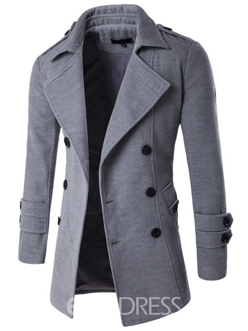 Ericdress Notched Lapel Double-Breasted Plain Casual Men's Wool Coat