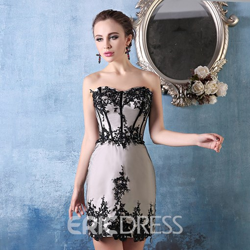 Ericdress Sweetheart Appliques Lace Zipper Up Cocktail Dress
