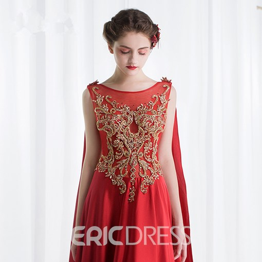 Ericdress A-Line Bateau Appliques Beading Chapel Train Evening Dress