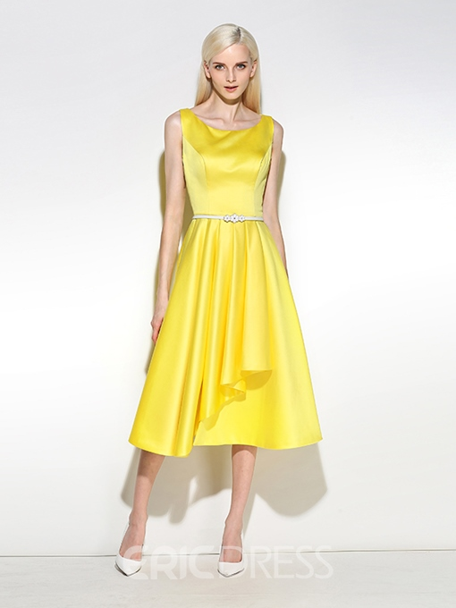 Ericdress A-Line Scoop Pleats Sashes Tea-Length Cocktail Dress