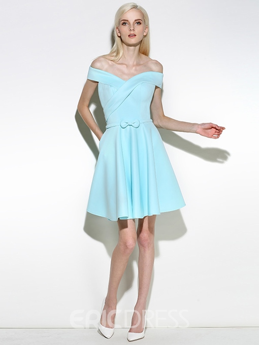 Ericdress Off-the-Shoulder A-Line Pleats Sashes Short Cocktail Dress