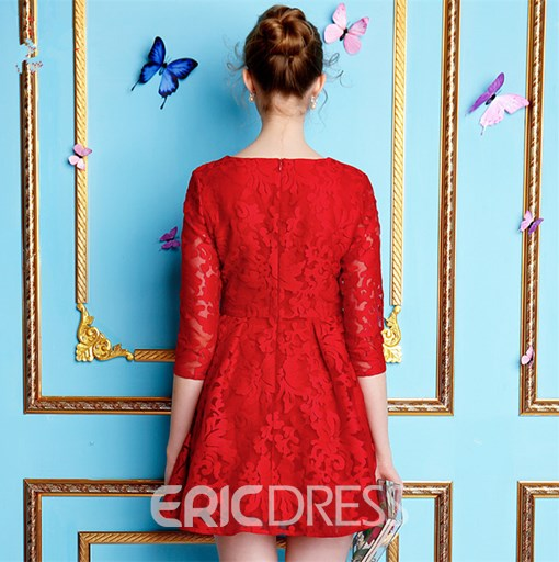Ericdress A-Line Scoop Half Sleeves Lace Mini Cocktail Dress