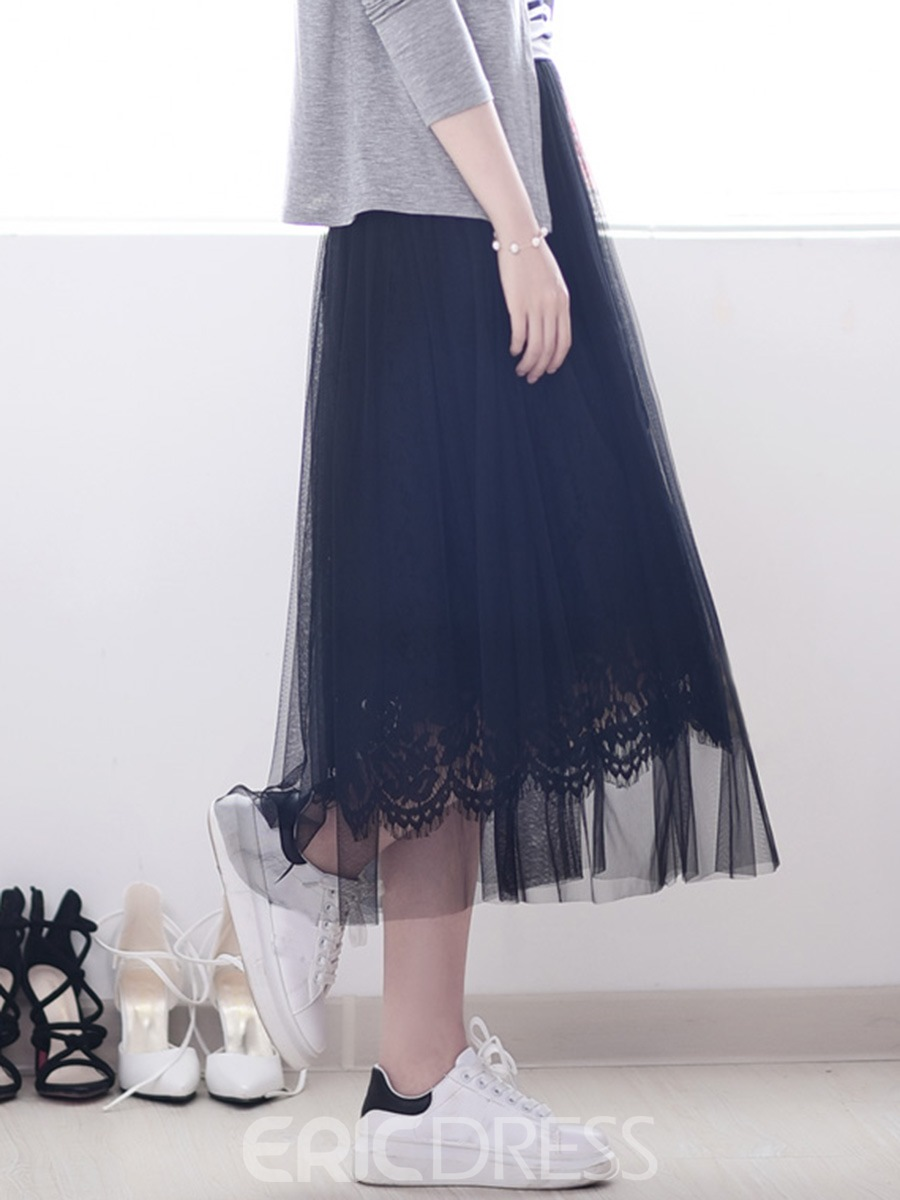 Ericdress Sweet Lace Gauze Maxi Skirt