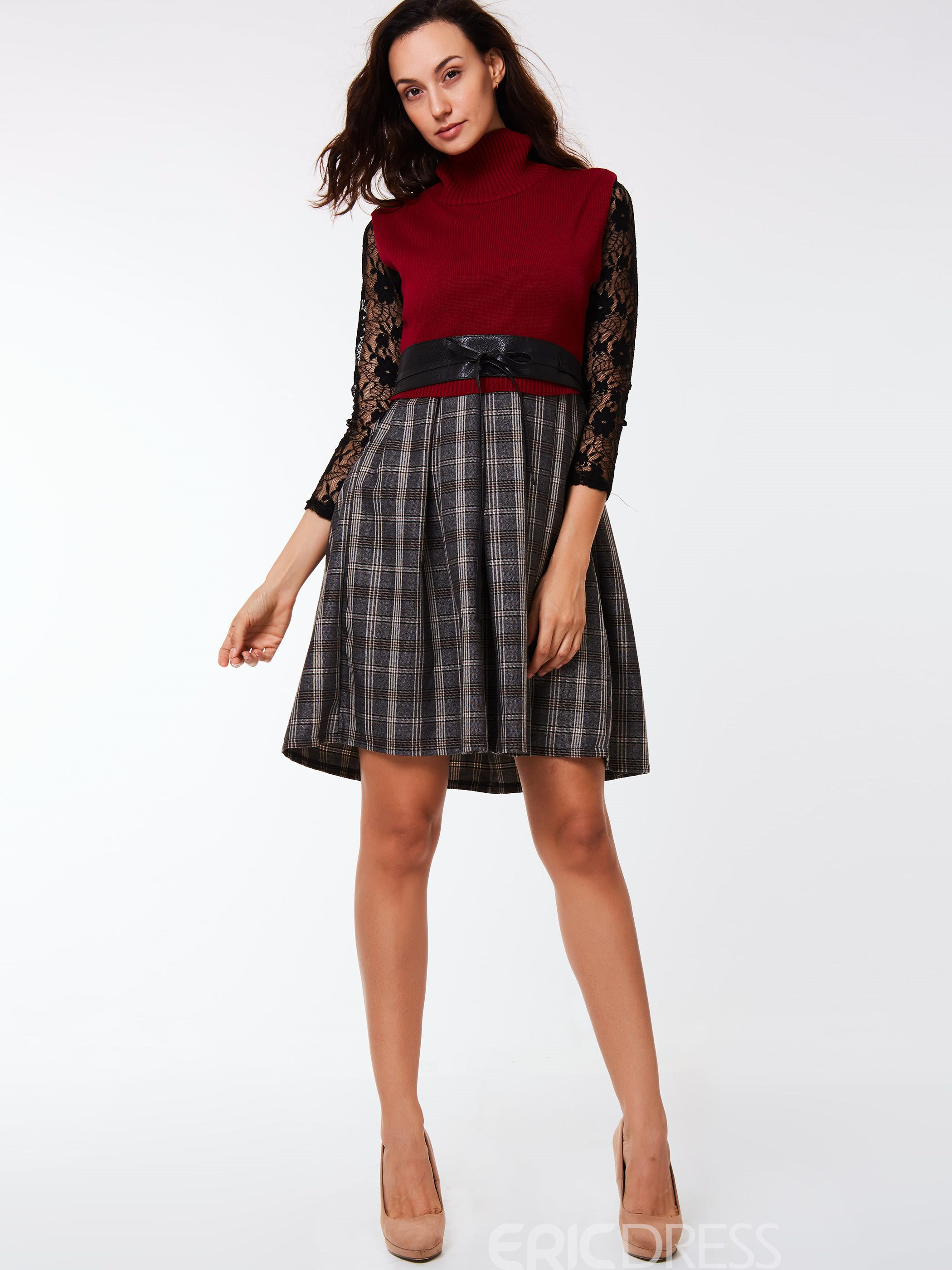 Ericdress Vintage Plaid Dress Leisure Suit