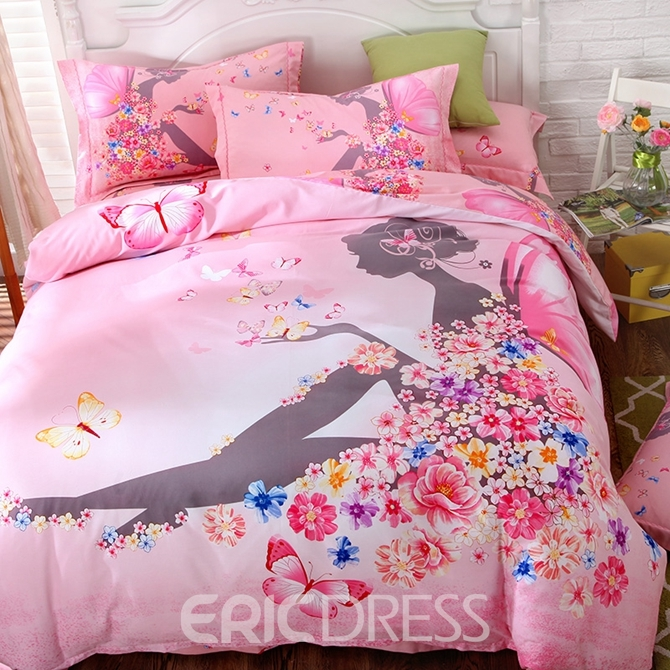 Vivilinen Flower Fairy Printed Cotton 4-Piece Pink Duvet Covers/Bedding Sets