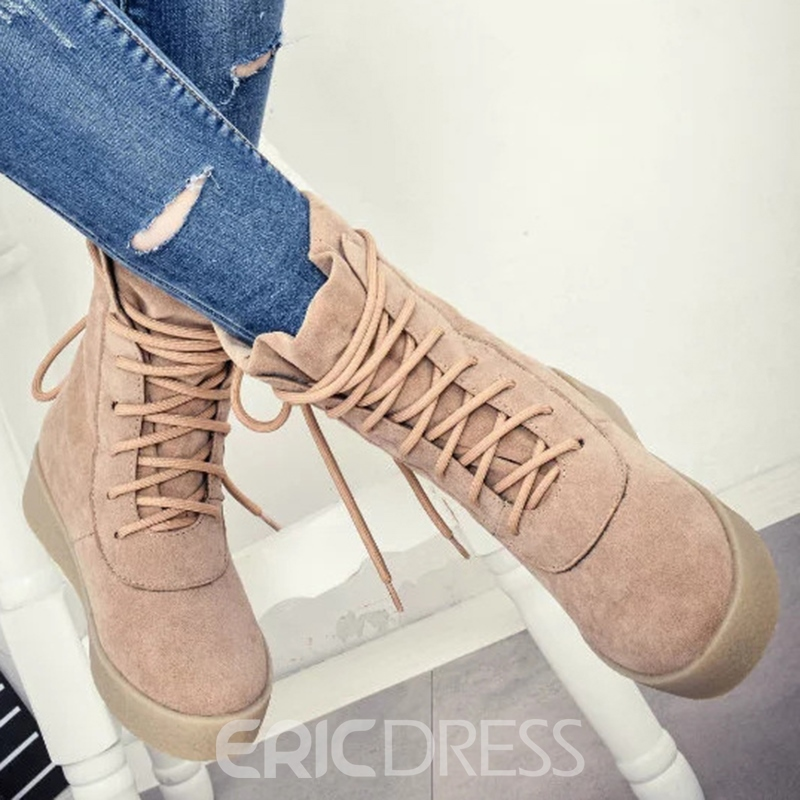 Ericdress Simple Lace up Martin Boots