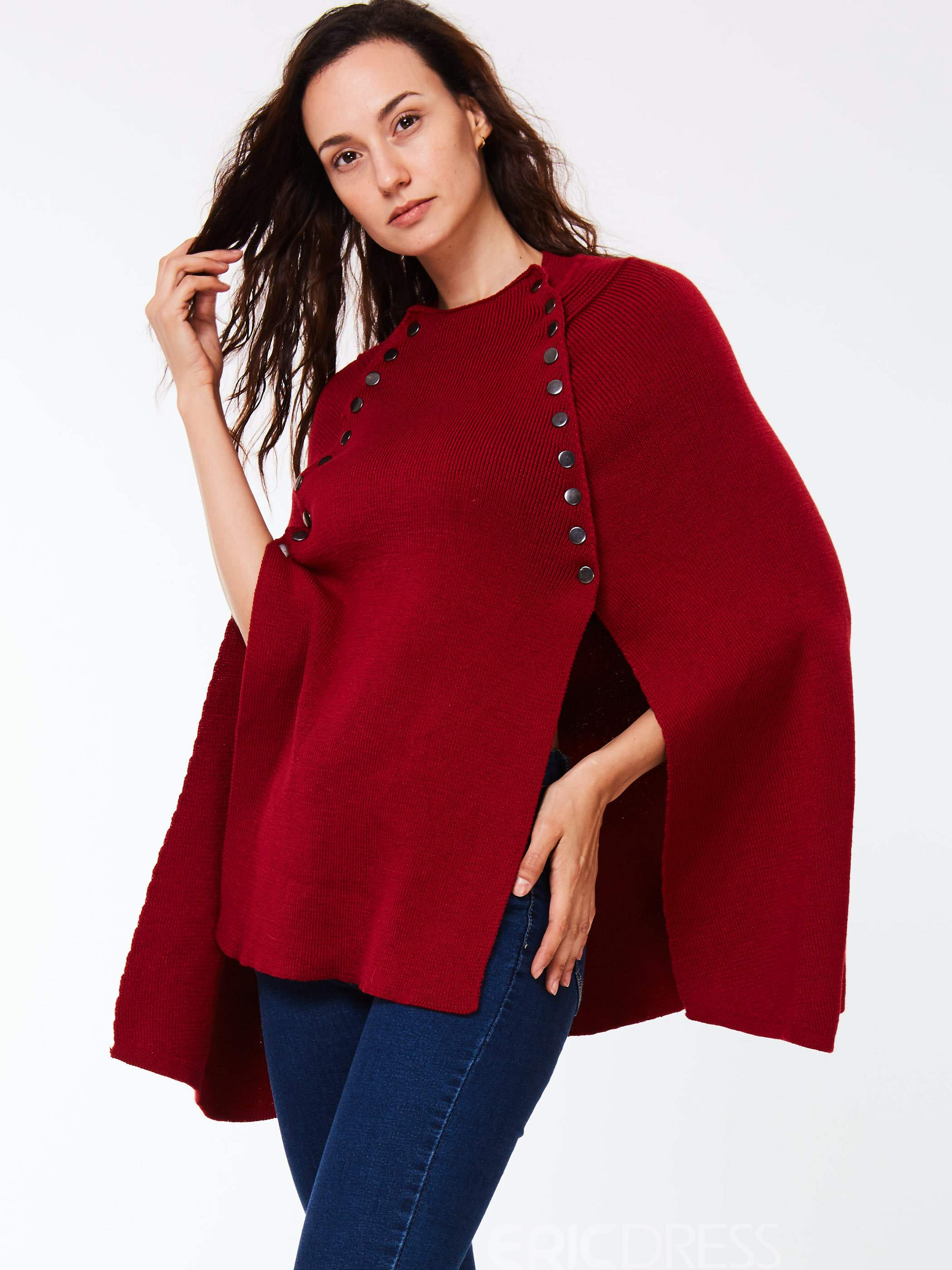 Ericdress Button Detail Caped Knitwear