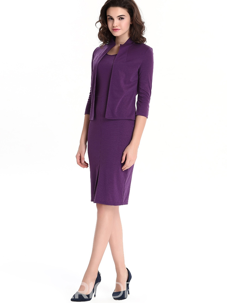 Ericdress Solid Color Bodycon Dress Leisure Suit