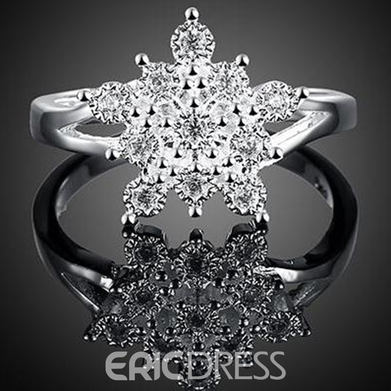 Ericdress Snowflake Diamante Ring