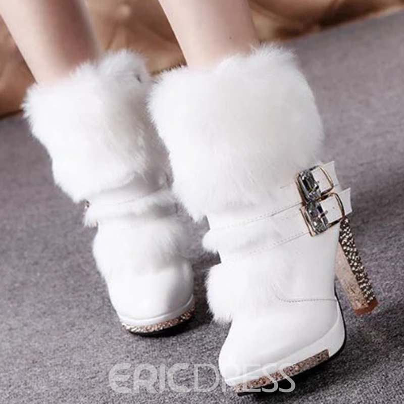 Ericdress Charming Furry Side Zipper High Heel Boots