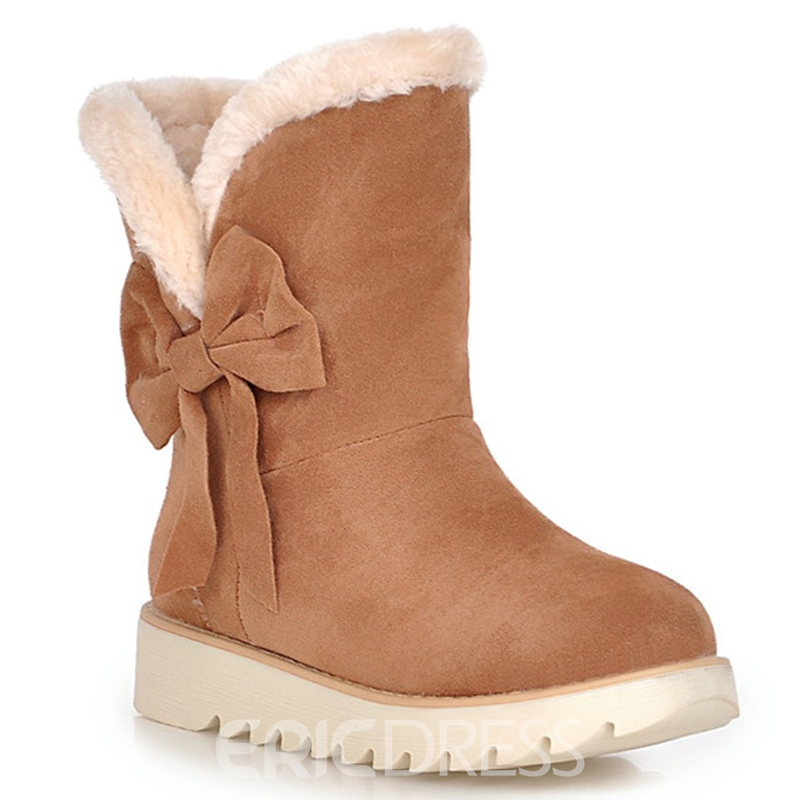 Ericdress Lovely Girl Bowtie Round Toe Snow Boots
