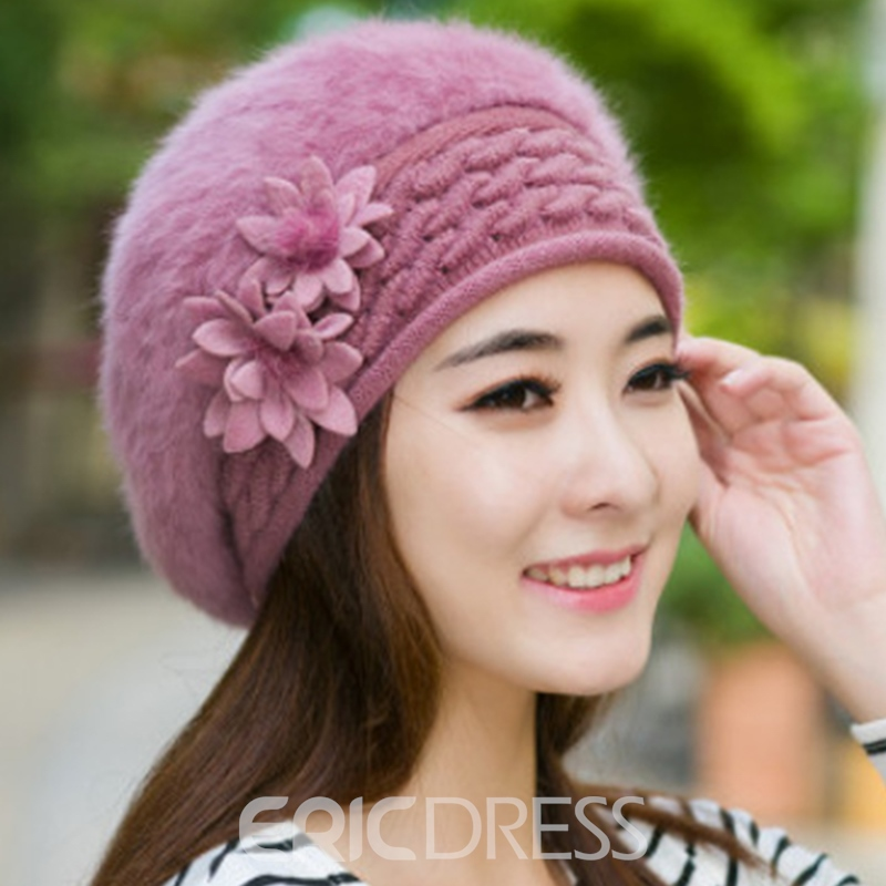 Ericdress Solid Color Warm Fur Beret Hat