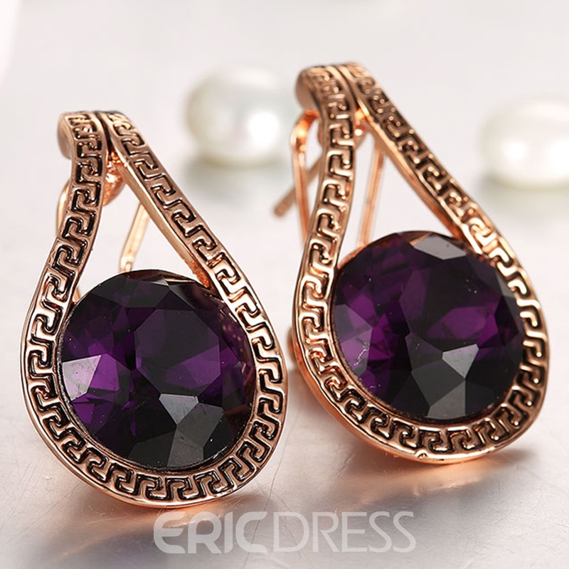 Ericdress Fashionable K Gold Amethyst Ultra Violet Earring for Women