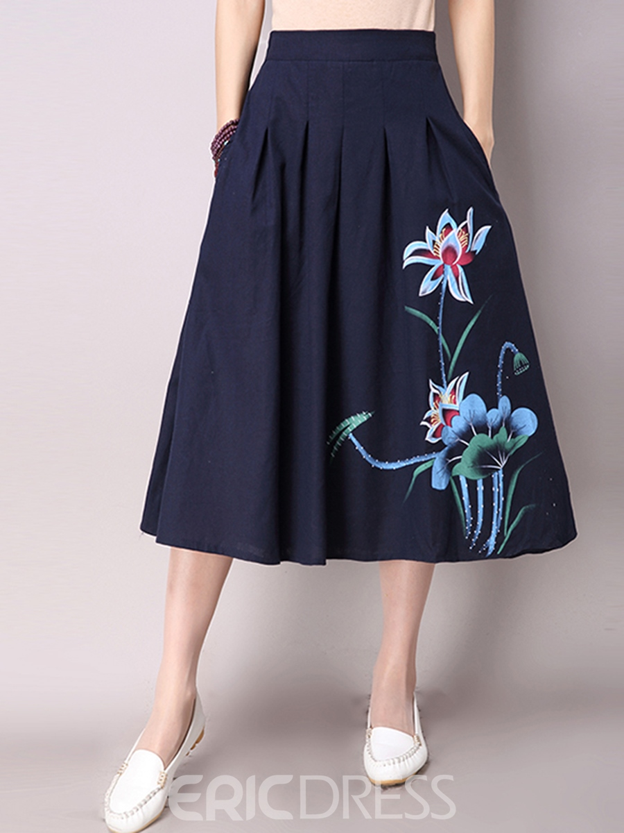 Ericdress Chinese Ethnic Print Pleated Usual Skirt