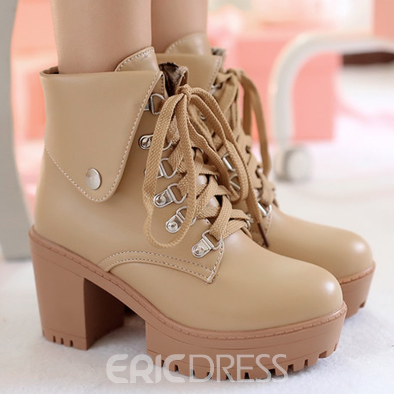 Ericdress Cool Round Toe Lace up Chunky Heel Ankle Boots
