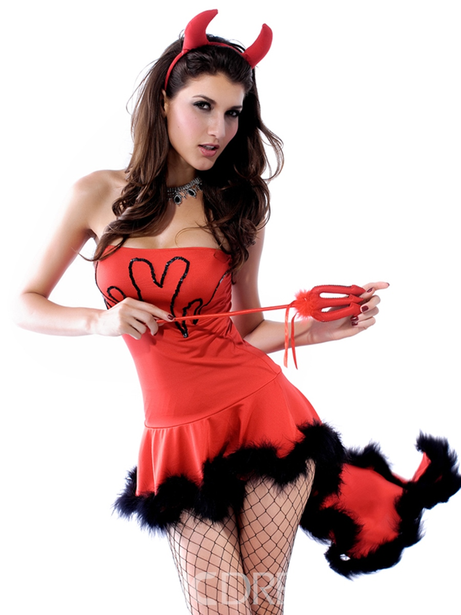 Ericdress Fur Hem Tailed Sexy Demon Cosplay Costume