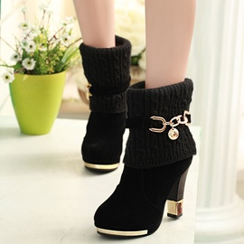 Ericdress Kintting Patchwork Rhinestone Chunky High Heel Boots
