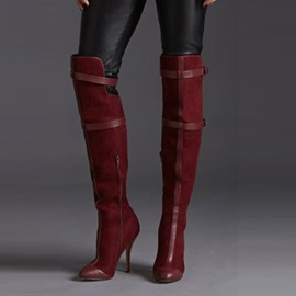 Ericdress Burgundy Point Toe Thigh High Boots
