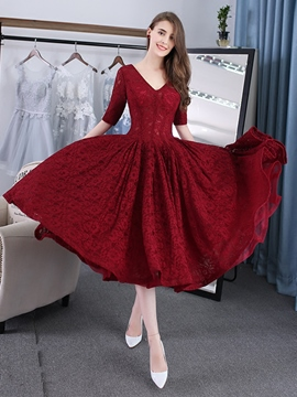 Ericdress A-Line Half Sleeves Lace Evening Dress In Tea-Length