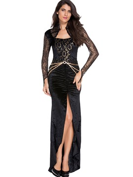 Ericdress Black Pleated Lace Sexy Slit Evil Queen Cosplay Halloween Costume