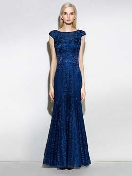 Ericdress Scoop Cap Sleeves Lace Pearls Floor-Length Mermaid Evening Dress