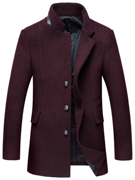 Ericdress Stylish Patchwork Stand Collar Slim Men's Woolen Coat