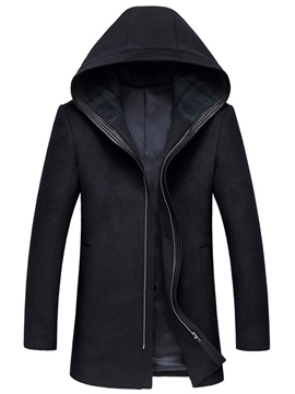 Ericdress Zip Hood Vogue Slim Men's Woolen Coat