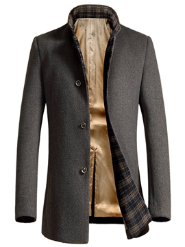 Ericdress Single-Breasted Mid-Length Elegant Slim Men's Woolen Coat