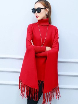 Ericdress Tassel Turtle Neck Knitwear