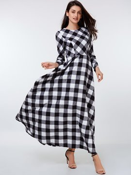Ericdress Autumn Plaid Long Sleeve Maxi Dress