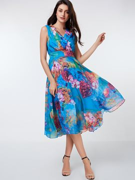 Ericdress Flower Print Expansion V-Neck Sleeveless Maxi Dress