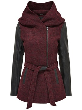Ericdress Color Block PU Patchwork Manteau