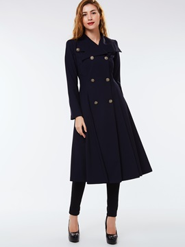 Ericdress Solid Color Slim Double-Breasted Wave Cut Trench Coat