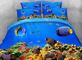 Fish Aquarium Digital Printing 4-Piece Bedding Sets/Duvet Covers