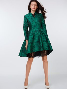 Ericdress Mandarin Collar Lace Patchwork Pleated Casual Dress