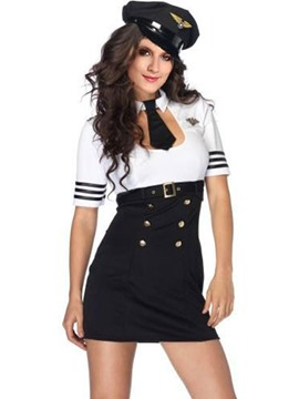 Ericdress Color Block Patchwork Zip Sexy Police Cosplay Costume
