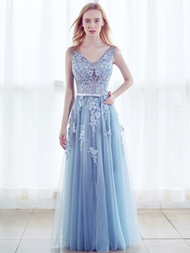Ericdress A Line Sleeveless Lace Applique Floor Length Evening Party Dress