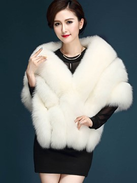 Ericdress Solid Color Faux Fur Thick Elegant Cape