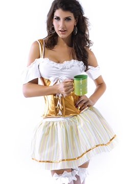 Ericdress Patchwork Spaghetti Strap Sexy Beer Cosplay Costume