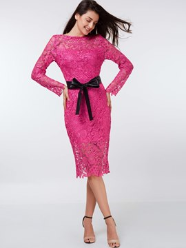 Ericdress Floral See-Through Belt Knee-Length Lace Dress