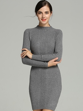 Ericdress Knitting Plain Weave Sweater Dress