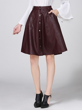 Ericdress Button Decoration Faux Leather Usual Skirt