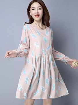 Ericdress Feather Print Round Neck Pleated Casual Dress