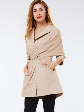 Ericdress Solid Color Cross Slim Trench Coat
