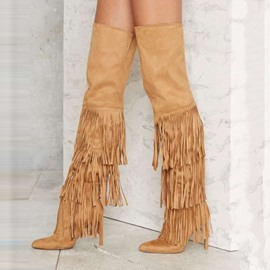 Ericdress Chic Tassels Point Toe Thigh High Boots