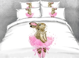 Bunny in a Pink Dress Printed Cotton 3D 4-Piece White Bedding Sets