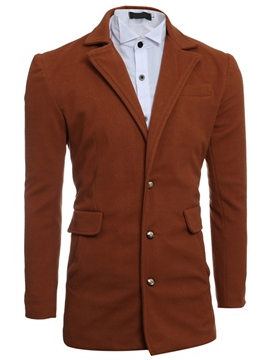 Ericdress Plain Single-Breasted Pocket Slim Men's Woolen Coat