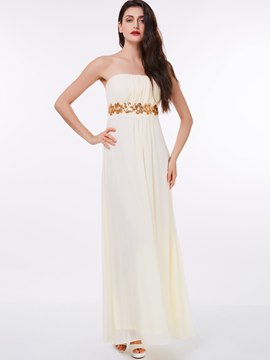 Ericdress A-Line Strapless Draped Sequins Floor-Length Prom Dress