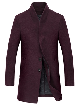Ericdress Mid-Length Plain Single-Breasted Vogue Woolen Men's Coat
