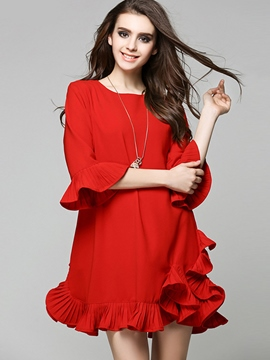 Ericdress Ruffle Sleeve Falbala Patchwork Casual Dress